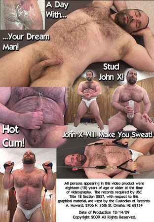 Beefy Bear John X: Muscle Pumping Jockstrap Modeling Cock Stroking Shower Lathering Solo Back DVD Cover